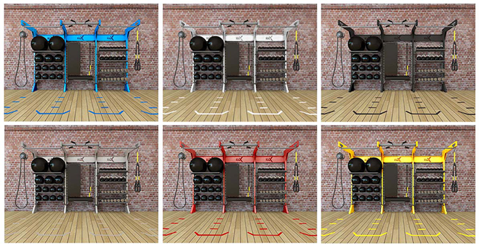 gym rax, custom color, suspension training, gym storage